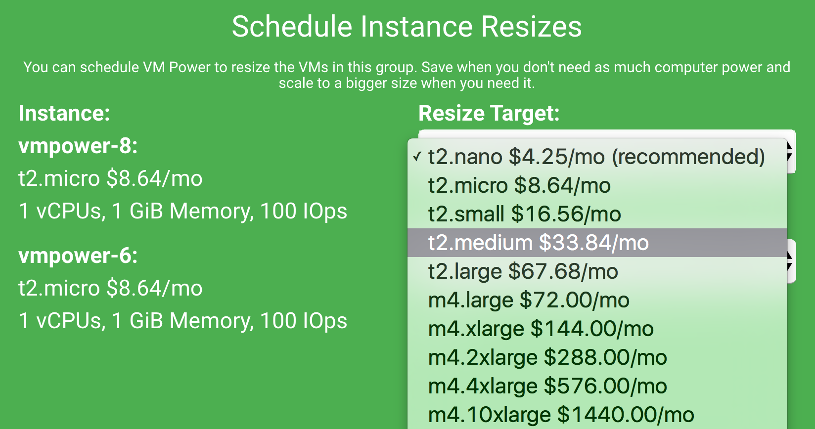Schedule resize modal