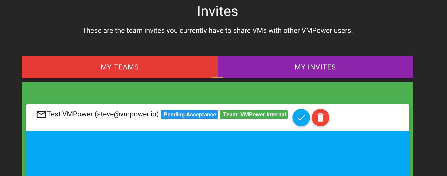 Team Invites Page