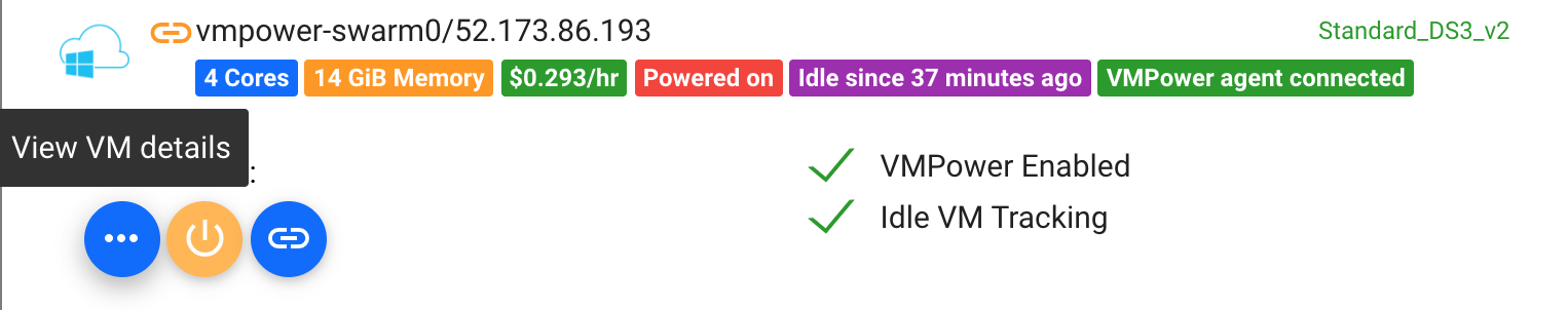 Image of connected VM in VMPower dashboard